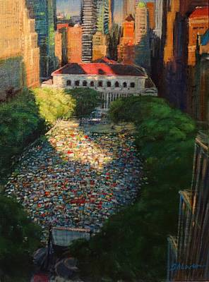 Bryant Park - Movie Night - The Crowd Gathers Art Print by Peter Salwen