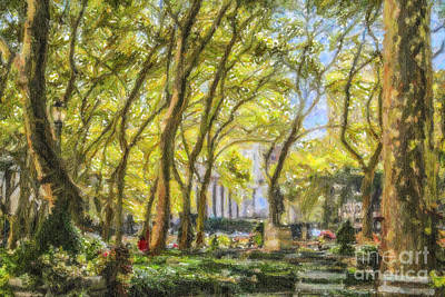 Bryant Park Digital Art - Bryant Park October Morning by Liz Leyden