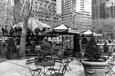 Bryant Park New York Photograph - Bryant Park Tables Mono by John Rizzuto