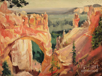 Painting - Bryce Canyon - Natural Bridge 1935 by Art By Tolpo Collection