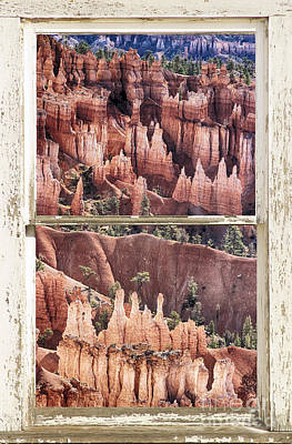 Corporate Art Photograph - Bryce Canyon Utah View Through A White Rustic Window Frame by James BO  Insogna