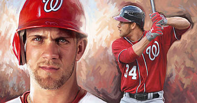 Baseball Art Painting - Bryce Harper Artwork by Sheraz A