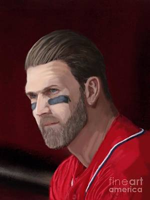 Outfielder Painting - Bryce Harper by Jeremy Nash