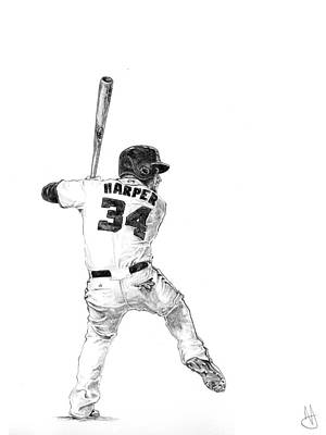 Nationals Baseball Drawing - Bryce Harper by Joshua Sooter