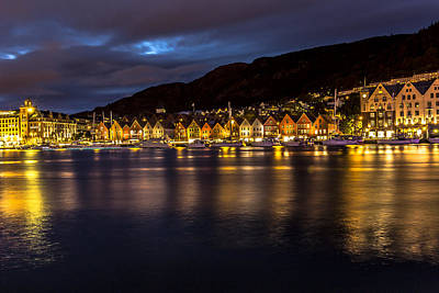 Photograph - Bryggen At Dusk by Justin Albrecht