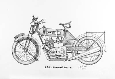 Final Four Drawing - B.s.a.-kawasaki by Stephen Brooks