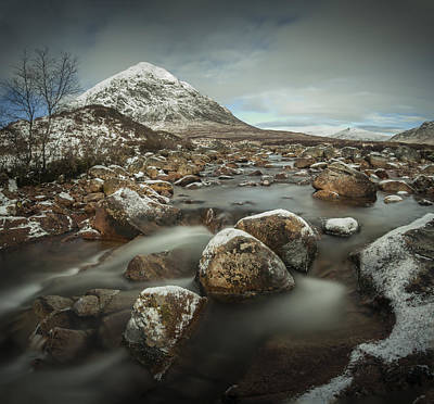 Stob Dearg Photograph - Buachaille Etive Mor Winter Waterfall by Nigel Forster