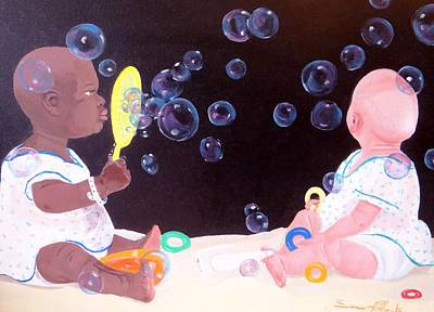 Painting - Bubble Babbies  by Susan Roberts