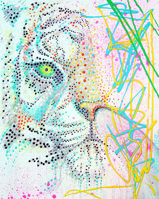 White Tiger Mixed Media - Bubble Gum Tiger by Laura Barbosa