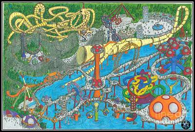 Roller Coaster Drawing - Bubble Park by Radical Bubble Studios