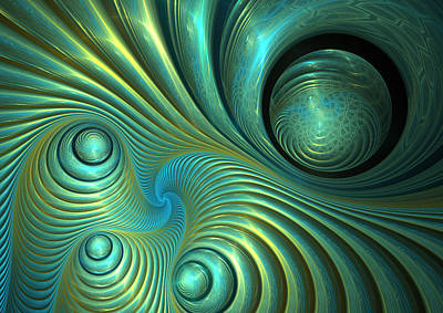 Affordable Abstract Art Digital Art - Bubble Spiral by Martin Capek