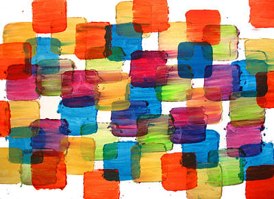 New York Giants Mixed Media - Bubble Wrap Blocks Art Abstract Paintings Splashyart.com by Robert R Splashy Art Abstract Paintings