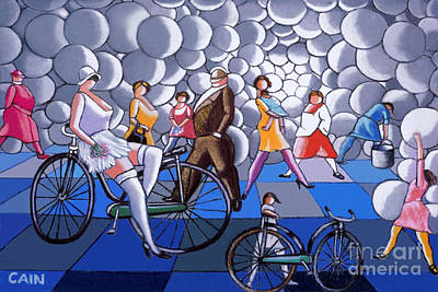 Painting - Bubbles And Bikes by William Cain