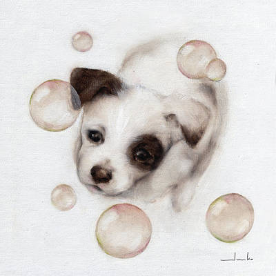 Painting - Bubbles And Puppy Nursery Art by Junko Van Norman