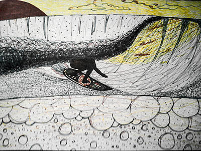 Drawing - Bubbles Beneath The Tube by Nathan Newman