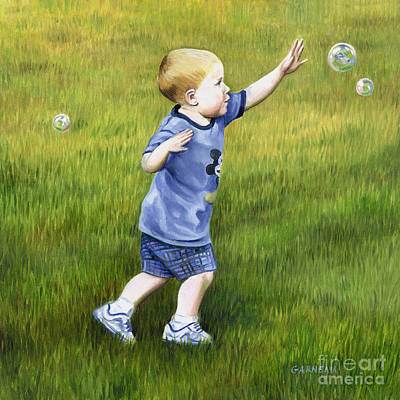 Toddler Portrait Painting - Bubbles by Catherine Garneau
