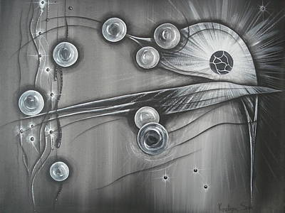 Bubbles In Grey Original by Krystyna Spink