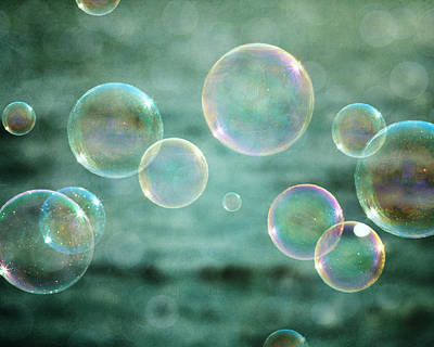 Bubbles In Teal And Pink Art Print by Lisa Russo