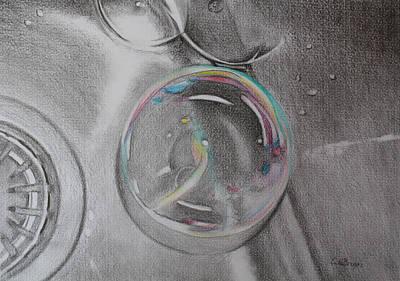Drawing - Bubbles In The Sink by Carol De Bruyn