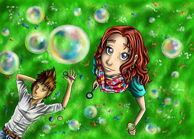 Raindbow Digital Art - Bubbles In The Sky by Claudia Laube