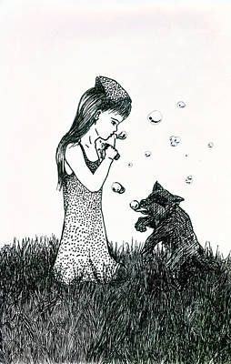 Raccoon Drawing - Bubbles by Kd Neeley