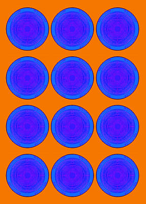 Ikea Painting - Bubbles Orange Blue Warhol  By Robert R by Robert R Splashy Art Abstract Paintings