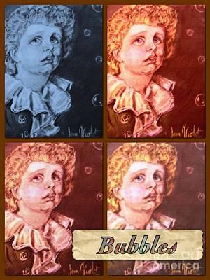 Bubbles Portrait Collage Art Print