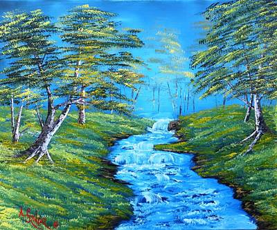 Bubbling Brook In The Meadow Original