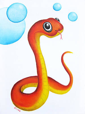 Painting - Bubbly Baby Snake by Oiyee At Oystudio