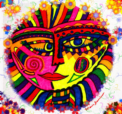 Painting - Bubbly Boo - Abstract Face - Fractals  by Marie Jamieson