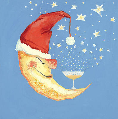 Champagne Painting - Bubbly Christmas Moon by David Cooke
