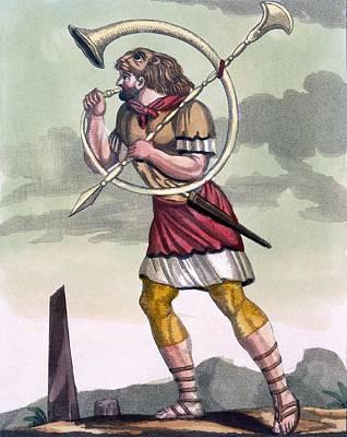 Signal Drawing - Buccinatore, Military Horn-blower by Jacques Grasset de Saint-Sauveur