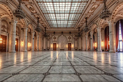 Bucharest Photograph - Bucharest Palace Of Parliament Ballroom by Nico Trinkhaus