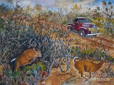 1946 Ford And Deer Original by Don Hand