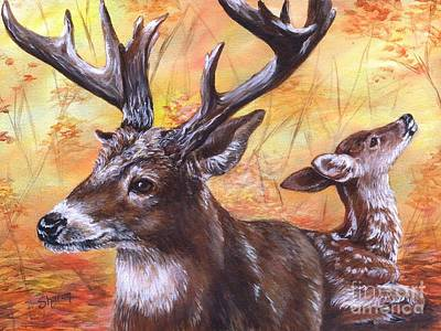 Whitetail Fawn Painting - Buck And Fawn by Sharon Molinaro