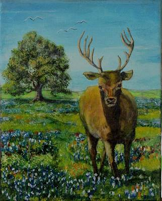 James Taylor Painting - Buck In Bluebonnets by James Taylor