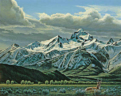 Teton Painting - Buck Mountain From Antelope Flat by Paul Krapf