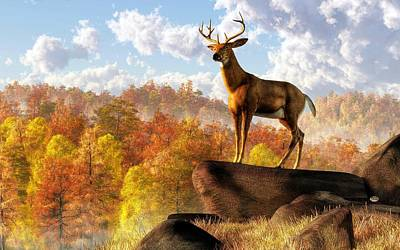 Buck Over Autumn Valley Art Print by Daniel Eskridge