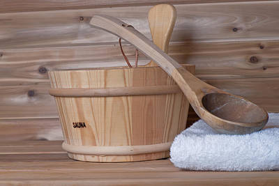 Photograph - Bucket And Ladle Spoon In Sauna by Marek Poplawski