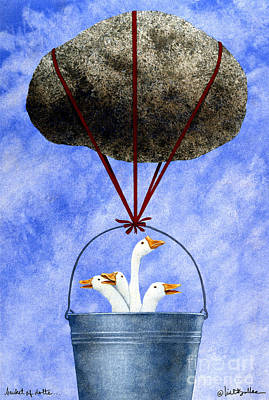 Geese Painting - Bucket Of Dolts... by Will Bullas