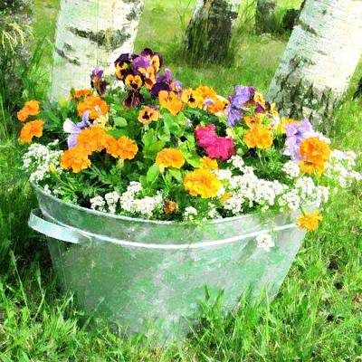 Mixed Media - Bucket Of Flowers by Florene Welebny