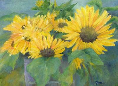 Bucket Of Sunflowers Colorful Original Painting Sunflowers Sunflower Art K. Joann Russell Artist Art Print by Elizabeth Sawyer