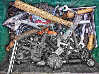 Bucket Of Tools Sc Print by Thomas Woolworth