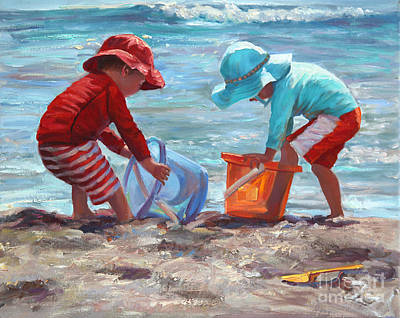 Children Playing On Beach Painting - Buckets Of Fun by Laurie Hein