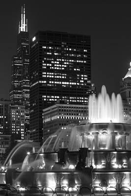 Photograph - Buckigham Fountain In Black An White  by John McGraw