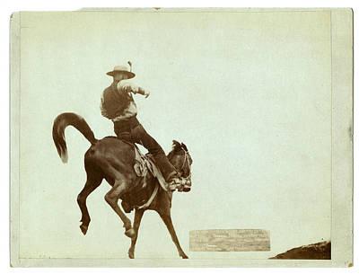 Bucking Bronco. Ned Coy, A Famous Dakota Cowboy Art Print by Litz Collection