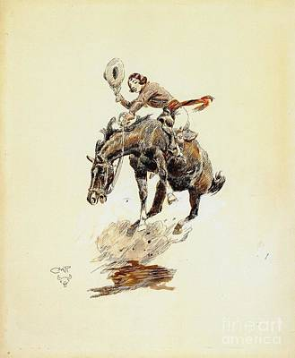 Painting - Bucking Horse And Cowgirl by PG Reproductions