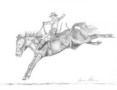 bucking horse drawing bucking by loren ullom