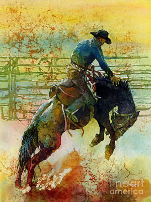 Watercolor Sports Painting - Bucking Rhythm by Hailey E Herrera