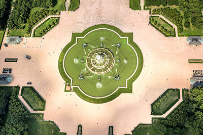 Abstract Skyline Rights Managed Images - Buckingham Fountain  Aerial Royalty-Free Image by Adam Romanowicz